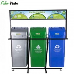 Punto Ecológico 35 Lts Verde-Gris-Azul