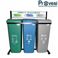 Punto Ecológico 53 Lts Verde-Gris-Azul Punto Ecológico
