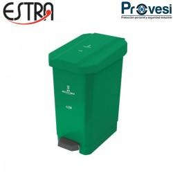 16010120 - Papelera Pedal Estrabins 44Lts Verde No Reciclable Estra