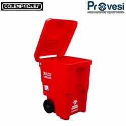 16010161 - Carro Basura Durakart 90 Galones Rojo Colempaques