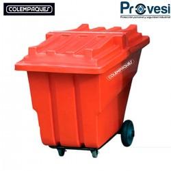 16010175 - Practiwagon Colempaques Mediano 370 Litros Con Tapa Rojo Colempaques