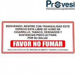 Señal Prohibido Fumar 30X15