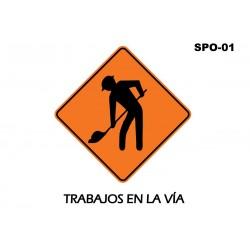 07070275 - Señal Trabajos En La Via Spo-01 (Señal Metalica Movil Temporal)
